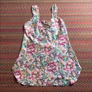 90s VINTAGE FLORAL SILKY SLIP DRESS